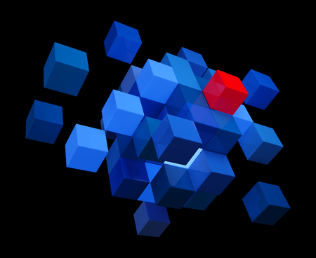 Blue Cubes and One Red. 3D Illustration. Black Background.