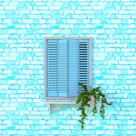 Blue Wooden Window Decorated with Flowers. 3D illustration.
