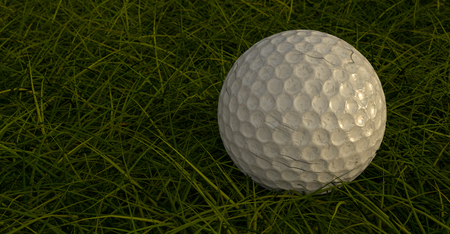 Close up Dirty Golf Ball in Rough. 3D Illustration Banco de Imagens