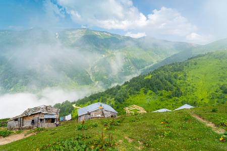 Summer Mountain Plateau Foggy Highland with Artvin, Turkey