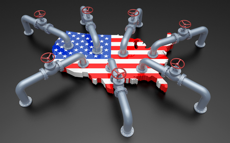 Oil Pipes and Valves on United States Flag Color Map. 3D Illustration Stock Photo