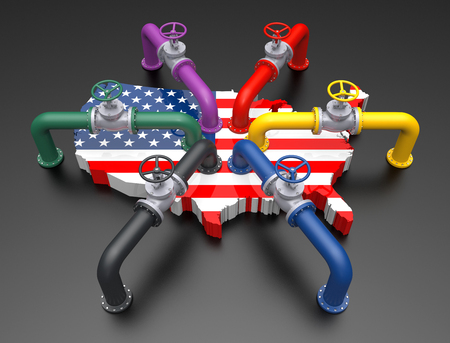 Colored Pipes and Valves on United States Flag Color Map. 3D Illustration Stock Photo
