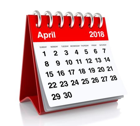 April 2018 Agenda. Geïsoleerd op witte achtergrond. 3D illustratie