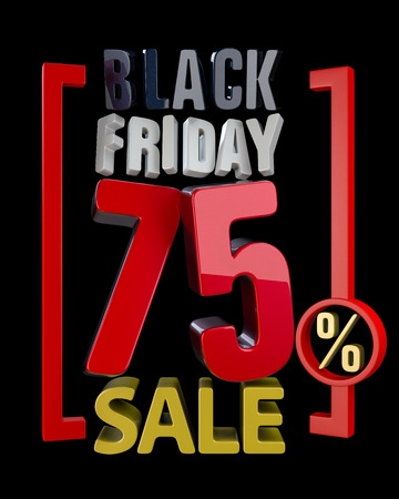 BLACK FRIDAY SALE XX % SALES word on black background illustration 3D rendering.