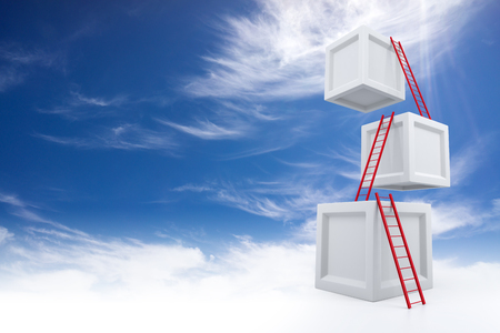 Cubes with Ladders. 3D Rendering