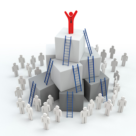Ladders with Leadership Progress concept. 3d rendering