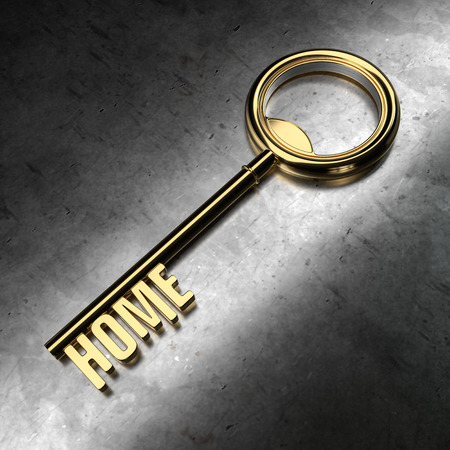 Gold Key with Home Word on Metal Background. 3d Rendering Illustration.