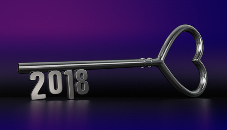 New Year 2018 with Silver Key - 3D Rendering