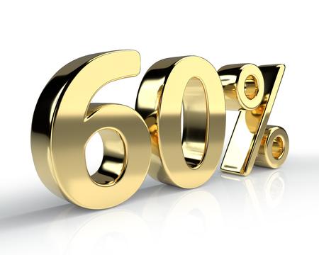 60 procent gouden symbool geïsoleerd op een witte achtergrond. 3D-weergave Stockfoto