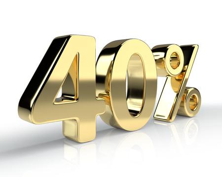 40 % 황금 기호 흰색 배경에 고립입니다. 3D 렌더링 스톡 콘텐츠