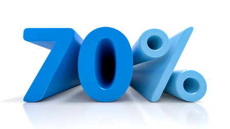 70% 青シンボルの白い背景で隔離。3 D レンダリング 写真素材