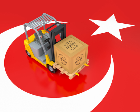 Forklift Truck with Export Wooden Crate. Made in Turkey. 3d Rendering Stock Photo