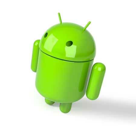 Izmir - Turkey - December 13, 2017: Android symbol figure on the white background. Android is the operating system for smartphones, tablet computers. 3D Rendering