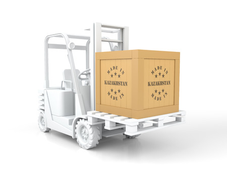 Forklift Truck with Made in Kazakhstan Wooden Box on Pallet. 3D Rendering