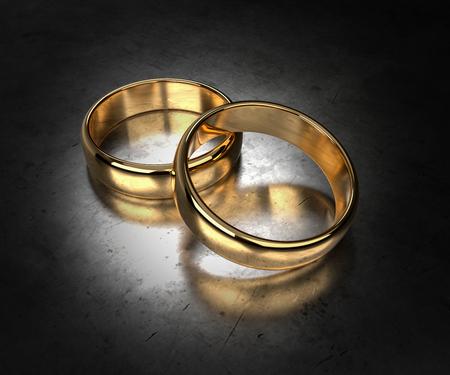 Golden Wedding Rings Concept. 3D Rendering
