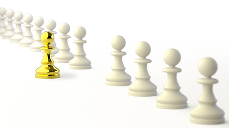 Leadership, Gold Pawn of Chess, Standing out from the Crowd of White Pawns. 3D Rendering. Stock Photo