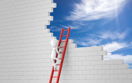 business man climbing a ladder to a wreckage wall. 3d rendering