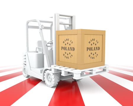 Forklift Truck with Poland Flag Color. Made in Poland. 3d Rendering Archivio Fotografico