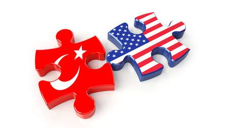 USA and Turkey flags on puzzle pieces. Political relationship concept. 3D rendering Stock Photo