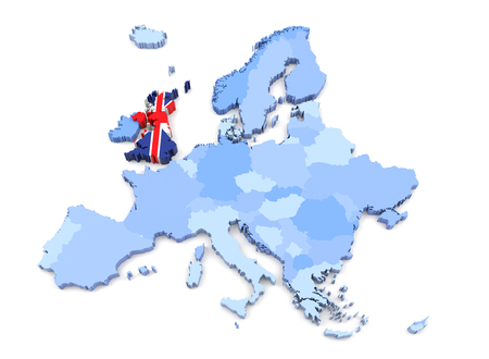 Europe Map, United Kingdom with Flag. 3D Rendering