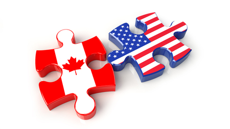 USA and Canada flags on puzzle pieces. Political relationship concept. 3D rendering Stock Photo