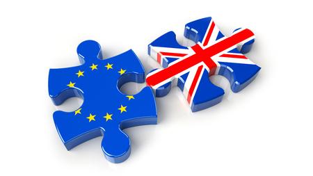 United Kingdom versus Europe puzzle concept. 3D Rendering Stock Photo