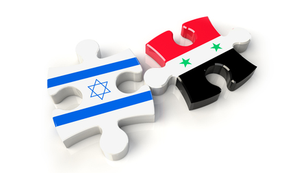 Israel and Syria flags on puzzle pieces. Political relationship concept. 3D rendering Stock Photo