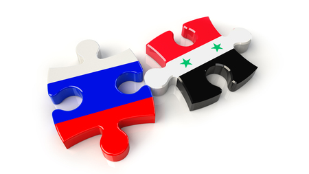 Russia and Syria flags on puzzle pieces. Political relationship concept. 3D rendering