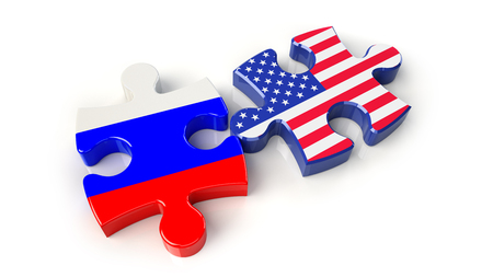 Russia and United States flags on puzzle pieces. Political relationship concept. 3D rendering Stock Photo