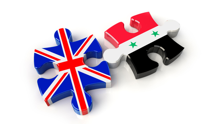 Syria and United Kingdom flags on puzzle pieces. Political relationship concept. 3D rendering Stock Photo