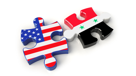 Syria and United States flags on puzzle pieces. Political relationship concept. 3D rendering