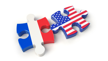 France and USA flags on puzzle pieces. Political relationship concept. 3D rendering Stock Photo