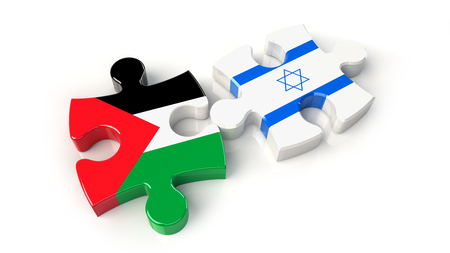 Palestine and Israel flags on puzzle pieces. Political relationship concept. 3D rendering Stock Photo