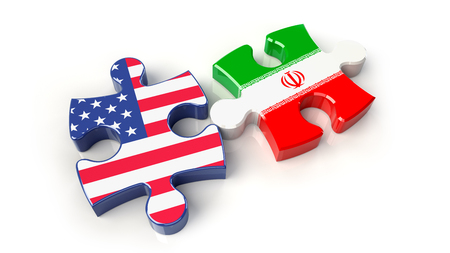 Iran and USA flags on puzzle pieces. Political relationship concept. 3D rendering