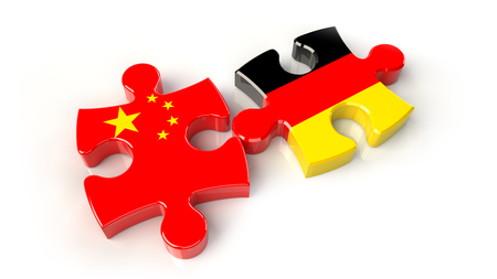 China and Germany flags on puzzle pieces. Political relationship concept. 3D rendering