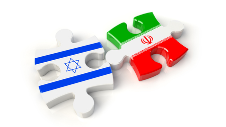 Iran and Israel flags on puzzle pieces. Political relationship concept. 3D rendering