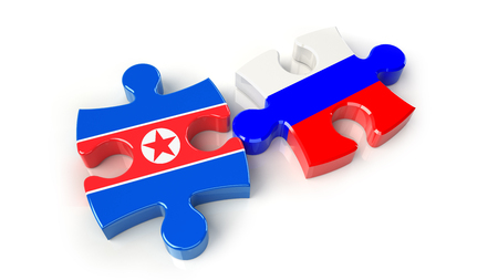 Russsia and North Korea flags on puzzle pieces. Political relationship concept. 3D rendering
