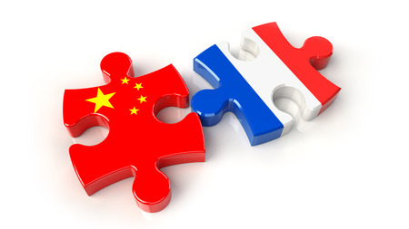 China and France flags on puzzle pieces. Political relationship concept. 3D rendering