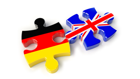 Germany and United Kingdom flags on puzzle pieces. Political relationship concept. 3D rendering Stock Photo