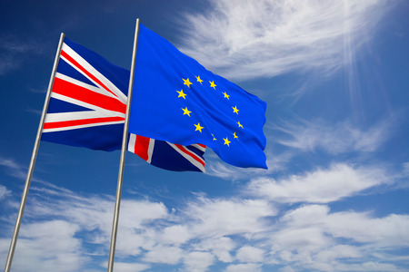UK and EU, Brexit. United Kingdom and European Union flags waving opposed on blue sky background. 3d illustration Stock Photo