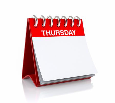 Thursday Calendar Day. Isolated on White Background. 3D Illustration