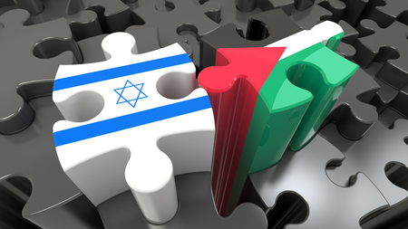 Palestine and Israel flags on puzzle pieces. Political relationship concept. 3D rendering Stockfoto