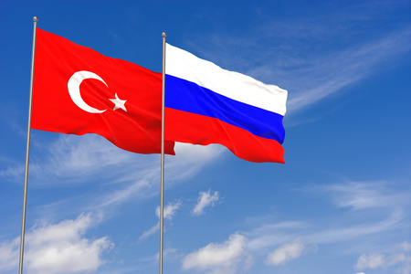 Turkey and Russia flags over blue sky background. 3D illustration Stock Illustration - 103432386