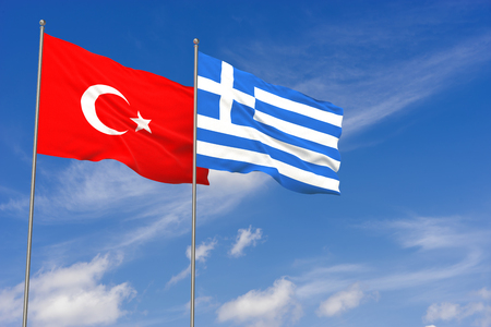Turkey and Greece flags over blue sky background. 3D illustration Stock Illustration - 103432416