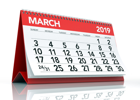March 2019 Calendar. Isolated on White Background. 3D Illustration