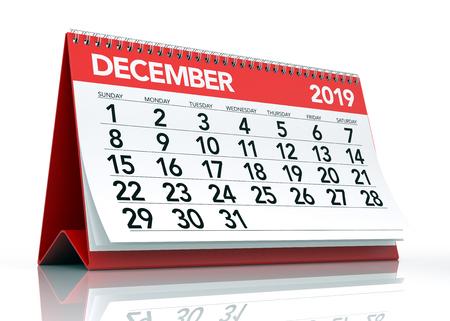 December 2019 Calendar. Isolated on White Background. 3D Illustration