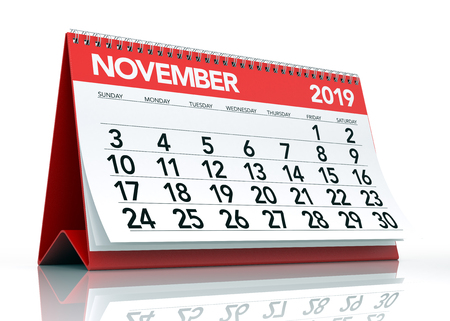 November 2019 Calendar. Isolated on White Background. 3D Illustration Stock Photo