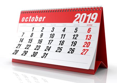 October 2019 Calendar. Isolated on White Background. 3D Illustration