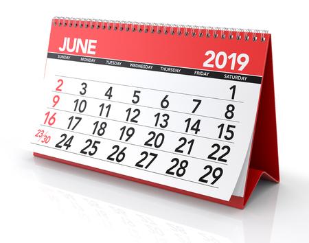 June 2019 Calendar. Isolated on White Background. 3D Illustration