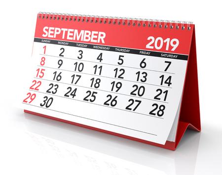 September 2019 Calendar. Isolated on White Background. 3D Illustration